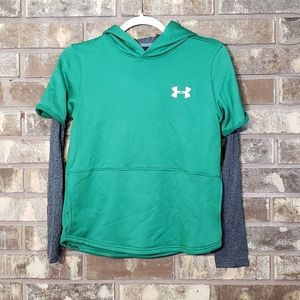 Under Armour Boys Green Layered Hoodie size L